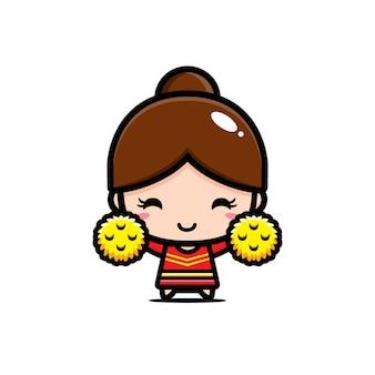 Conception de personnage mignon pom-pom girl