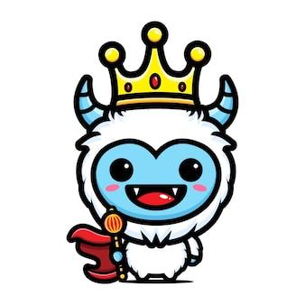 Conception de personnage mignon roi yeti