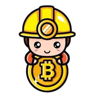 Conception de personnage de mineur bitcoin mignon