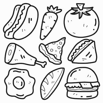 Conception de personnage de nourriture de dessin animé doodle dessiné à la main