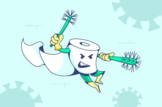 Conception de personnage de papier toilette avec des brosses contre le coronavirus.