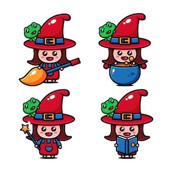 Conception de personnage de petite sorcière mignonne sur le thème du monde de la sorcière