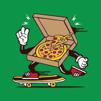 Conception de personnage de planche à roulettes de boîte à pizza