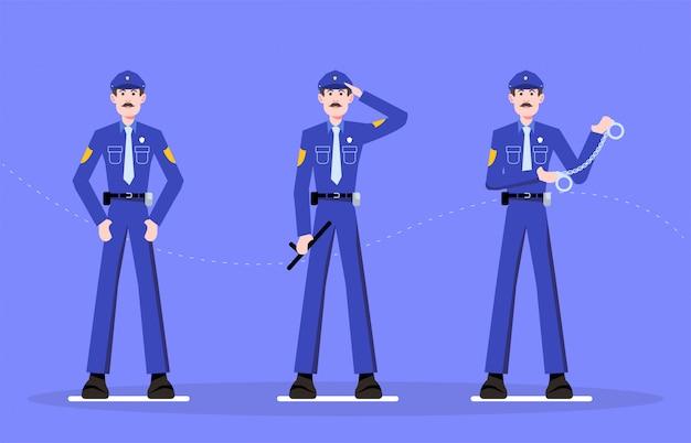 Conception de personnage de police homme -