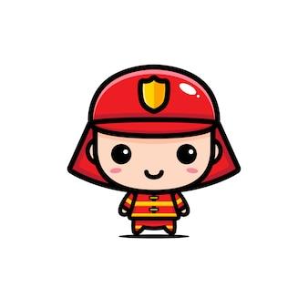 Conception de personnage de pompier mignon