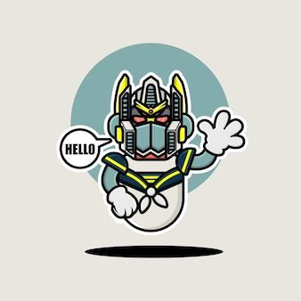 Conception de personnage de robot marin