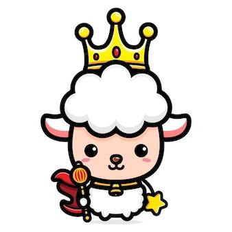 Conception de personnage de roi agneau mignon