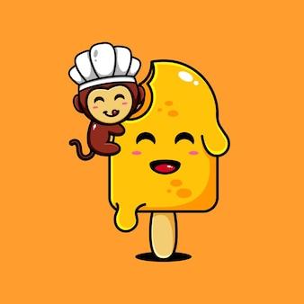 Conception de personnage de singe mignon sur le thème de la délicieuse crème glacée