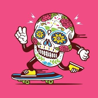 Conception de personnage de skateboard crâne de sucre