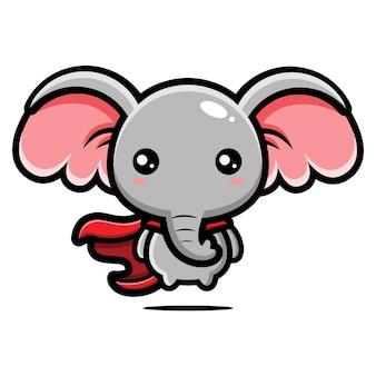 Conception de personnage de super-héros éléphant mignon