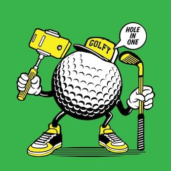 Conception de personnage de tête de balle de golf selfie