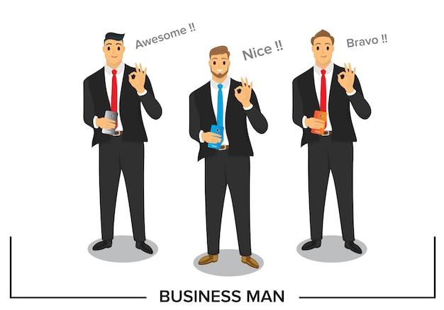 La conception des personnages d'affaires avec une bonne réponse