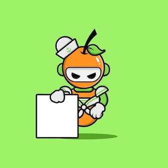 La conception des personnages du robot marin orange