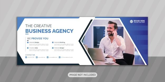 Conception de photo de couverture facebook d'agence de création d'entreprise avec une forme créative ou une conception de bannière web