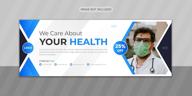 Conception de photo de couverture facebook de soins médicaux avec forme créative ou conception de bannière web