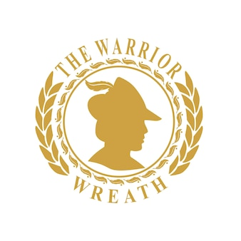 Conception de pièce de monnaie vintage de couronne de logo de guerrier