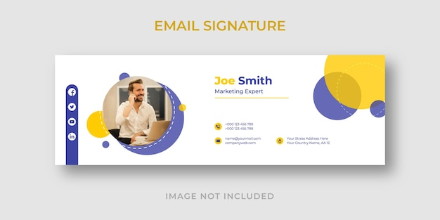 Conception de pied de page de signature de courrier électronique ou de modèle de couverture de médias sociaux