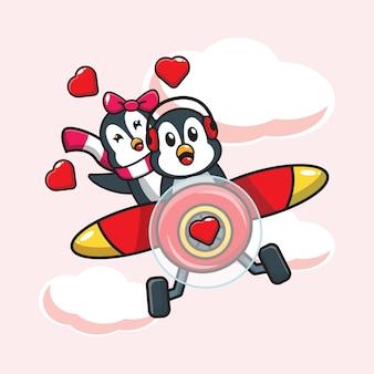 Conception de pingouins mignons en tombant amoureux en avion