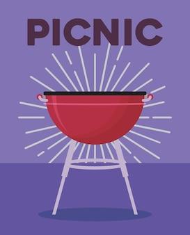 Conception de pique-nique avec barbecue icône de barbecue