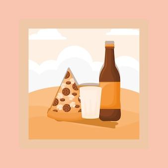 Conception de pique-nique avec une bouteille de bière et une pizza