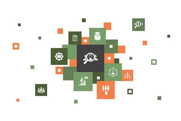 Conception de pixel d'infographie de recrutement en 10 étapes. carrière, emploi, position, expérience des icônes simples