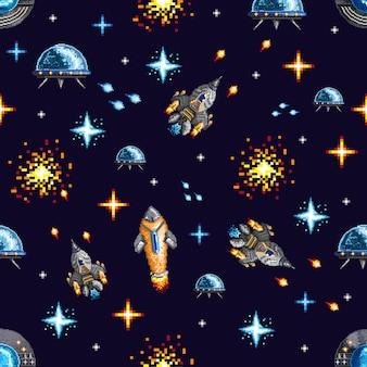 Conception de pixels de vaisseaux spatiaux en guerre