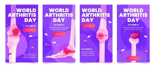 Conception à plat des histoires instagram de la journée mondiale de l'arthrite