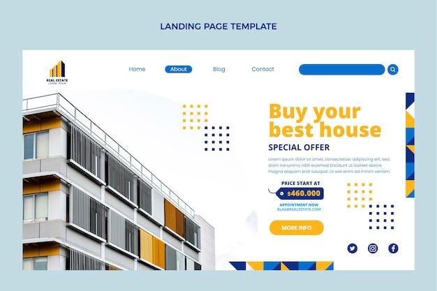 Conception à plat de la page de destination de l'immobilier géométrique