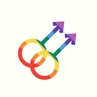Conception plate d'autocollant d'icône de symbole gay