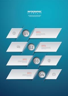 Conception plate de bannière de présentation infographique en quatre étapes