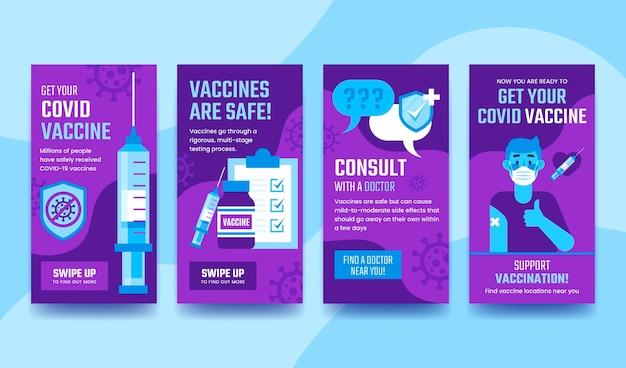 Conception plate de collection d'histoires instagram de vaccination