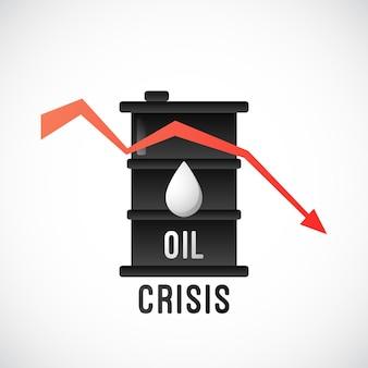 Conception plate de crise pétrolière avec baril