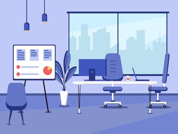 Conception plate du lieu de travail et du poste de travail concept de bureau de travail ou d'intérieur de bureau avec mobilier salle de bureau moderne avec chaise de table de bureau d'ordinateur et équipement fixe
