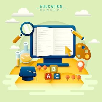 Conception plate de l'éducation, concept d'apprentissage en ligne avec moniteur et papeterie