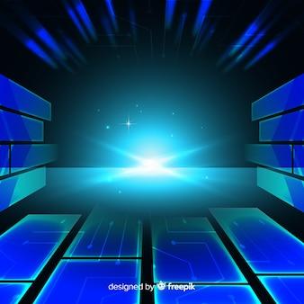 Conception plate de fond de tunnel de lumière technologique
