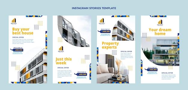 Conception plate d'histoires instagram géométriques de l'immobilier