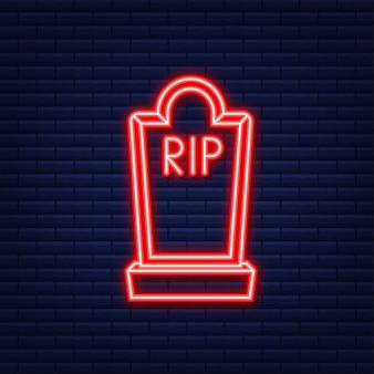 Conception plate d'icône grave. vieille pierre tombale avec des fissures. style néon. illustration vectorielle.