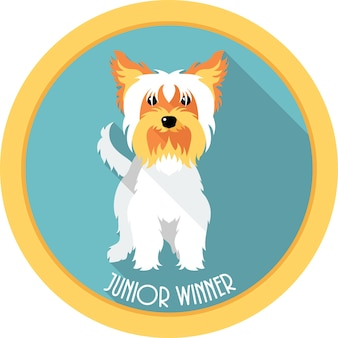 Conception plate d'icône de médaille de gagnant junior de chien