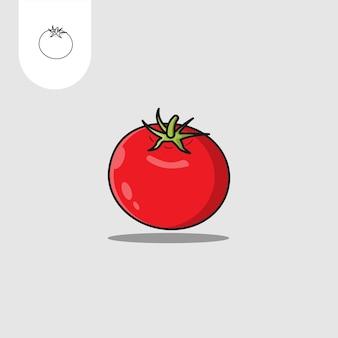 Conception plate de l'icône de la tomate
