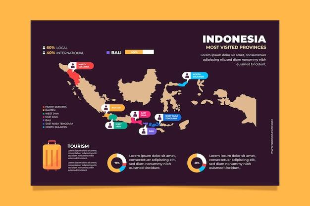 Conception plate d'infographie carte indonésie