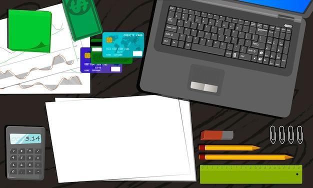 Conception plate. lieu de travail professionnel avec divers objets de bureau sur table. illustration vectorielle.