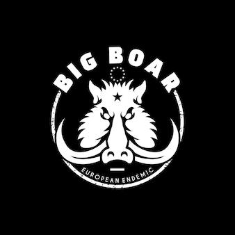Conception plate de logo de tête de sanglier pour le logo de communauté de chasseur