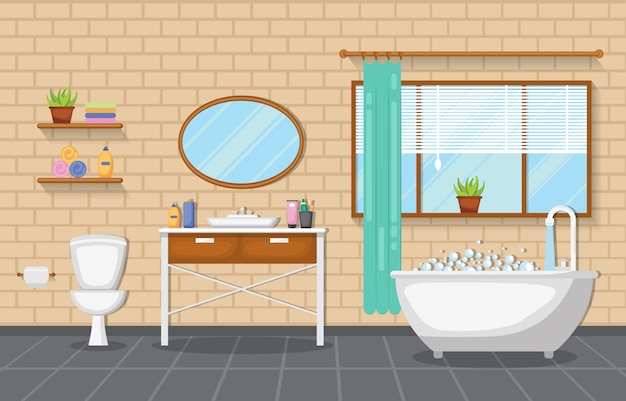 Conception plate de meubles d'accent en bois de pièce propre d'intérieur de salle de bains classique