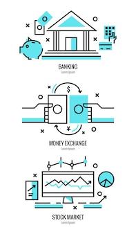 Conception plate mince de services bancaires en ligne