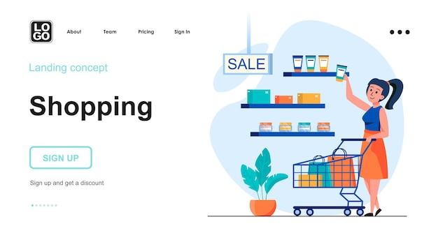 Conception plate de modèle de page de destination d'achat