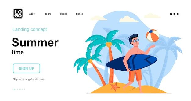 Conception plate de modèle de page de destination de l'heure d'été