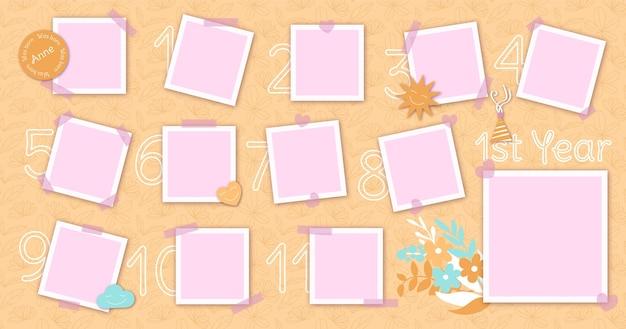 Conception plate de pack de cadre de collage d'anniversaire