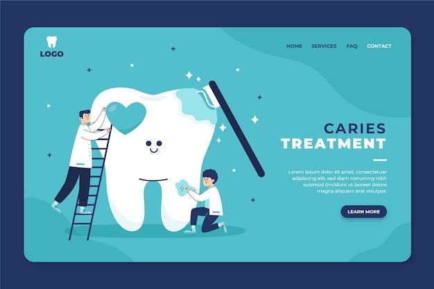 Conception plate de la page de destination des soins dentaires