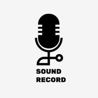 Conception plate de vecteur de logo de microphone modifiable avec le texte d'enregistrement sonore en noir et blanc