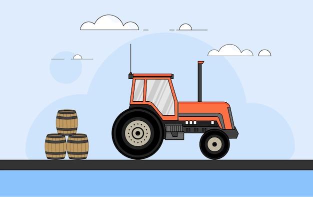 Conception plate de vecteur de tracteur de ferme